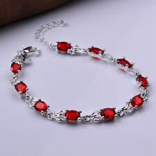 Fashion 925 Silver plated Jewelry Red Crystal Beauty Bracelet For Women H350