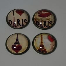 SET OF FOUR MAGNETS FRIDGE MAGNETS OFFICE MAGNETS I LOVE PARIS RED LOVE HEARTS