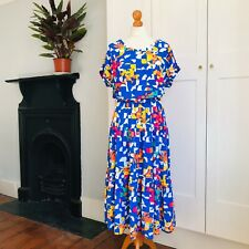 Vtg 80s Bright Blue Yellow Orange Pink Abstract Print Drop Sleeve Dress Belt 12