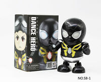 Dance Hero Black Spiderman Mile Morales Toy Figure Dancing Robot w/LED Music