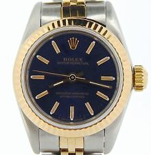 Ladies Rolex 2Tone 18k Gold/Stainless Steel Oyster Perpetual Watch Blue 67193