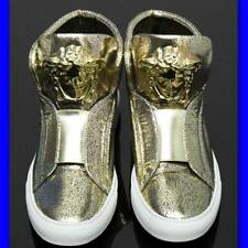 GIANNI VERSACE Gold MEDUSA LEATHER SNEAKERS w/ Certificate, Box & Bag (39.5)