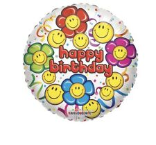 """5 Happy Birthday Smiley Flowers 18"""" Balloons Birthday Party Decorations"""