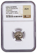 Lycian Olympus Silver Drachm of Lycian League Apollo & Cithara NGC AU* SKU46618