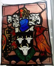 More details for antique stained glass panel. leaded light. heraldic. latin motto.