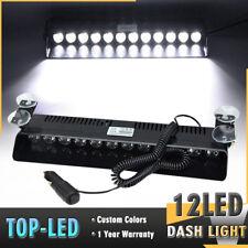 12 LED White Emergency Hazard Warning Visor Dash 12W Flash Strobe Light Bar Lamp