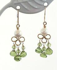 14k Yellow Gold Peridot Briolette and Pearl Chandelier Dangle Earrings