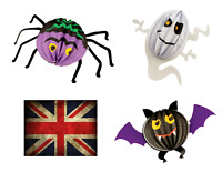 3D HANGING DECORATIONS HALLOWEEN BAT GHOST SPIDER HORROR SCARY CEILING UK SELLER