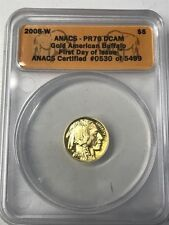 2008-W $5 Gold American Buffalo Coin 1st Day Issue ANACS PR70 DCAM