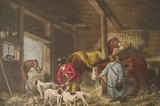 Antique George Morland Color Mezzotint Engraving/ Willaim Ward.Fox Hunt Dogs