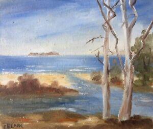 "ELVA BLACK AUSTRALIAN SMALL OIL ""SURF BEACH INLET SOUTH COAST NSW"" C 1980"