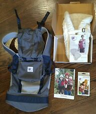 EUC Ergo Baby PERFORMANCE Carrier Blue Gray & Natural Insert & New Teething Pads