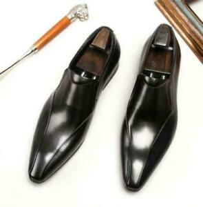 Retro Mens Real Leather Business Shoes Pointy Toe Oxfords Bridegroom Wedding VVB