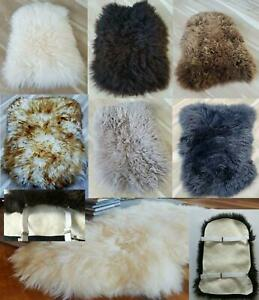 100% GENUINE SHEEPSKIN Chair Motorcycle Seat COVER with 2 Elastic Chrome Clips