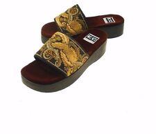 EuroClub 'Sheik' Fabric Upper Platform Wedge Heel Open Toe Sandals Women's 8.5B