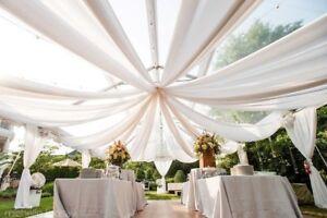 "120"" Wide Sheer Voile Chiffon Fabric By Yard  Draping Drape Panel Wedding Dress"