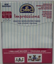 "DMC Impressions 14x18"" Cross Stitch 14 Count Aida Fabric Blue Stipes Background"