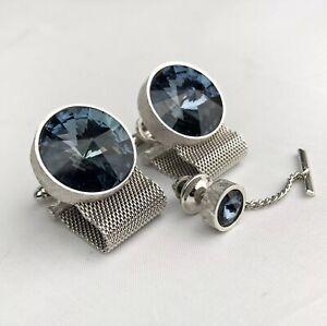 Vintage DANTE Blue Rivoli Crystal Mesh Wrap CUFFLINKS & TIE PIN Silver Toned MCM