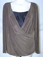 Coldwater Creek Brown Green Black Long Sleeve 2Fer Top Womens Size Large 12 14