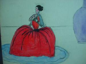 Primitive Folk Art Watercolor Painting Lady in Hoop Skirt My Pincushion Lady