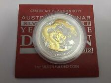 Perth Mint Australia 2012 Dragon 1 oz .999 Silver Coin Gilded with 24K Gold