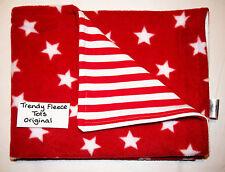 baby BLANKET car crib moses RED WHITE STARS & red STRIPE fleece reversible