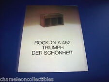 MODEL 452 By ROCK OLA 1973 ORIGINAL PHONOGRAPH JUKEBOX SALES FLYER GERMAN TEXT