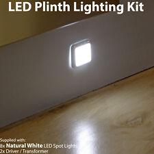 Square LED Plinth Light Kit–8 NATURAL WHITE Spotlights–Kitchen/Bathroom Panel