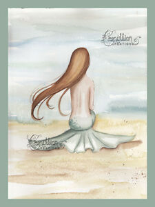 Tide Watch Mermaid Print from Original Painting By Camille Grimshaw