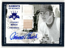 2016 Diamond Kings JOHNNY BENCH Elements of Royalty BLUE Auto JERSEY Bat /5 Reds