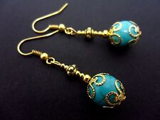A PAIR GOLD PLATED  DANGLY  TURQUOISE BEAD  EARRINGS. NEW.