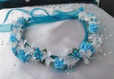 Turquoise Blue White  Flower Circlet - Wedding Halo, Flower Girl - by Valerie J