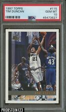 1997 Topps Basketball #115 Tim Duncan RC Rookie Spurs PSA 10 GEM MINT