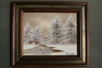 """Winter Scene Original Oil Painting on Canvas Signed by Barrister 14""""x12"""" w/Frame"""