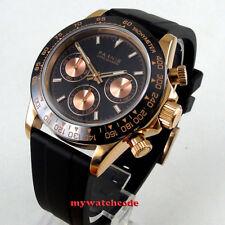 39mm PARNIS black dial sapphire rose golden case Chronograph quartz mens watch