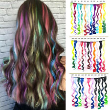 Rainbow Hair Accessories Party Highlights  Wavy Colored One Piece Hair Extension