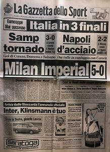 LA GAZZETTA DELLO SPORT 20 APRILE 1989 MILAN REAL MADRID 5 A 0 ( CHAMPIONS )