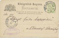 "BAYERN ""SCHWEINFURT"" (Ufr.) K1 (Helbig Nr. 7) 3 Pf Orts-GA1890 nach OBERNDORF"