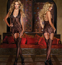 Sexy cobwebs Fishnet Crotchless Stocking Suspender Bodystocking Lingerie N030
