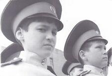 1990s Handsome young teen boys cadets military uniform closeup vtg Russian photo