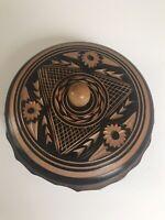 Hand Carved Wood Box Lidded Canister Round Black Etched Wooden.salt Box? Trinket