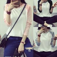 Women Plus Size Casual Baseball Shirt Tee Long Sleeve Raglan Tops T-shirt Blouse