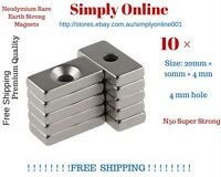 10 Pcs Super Strong Block Magnets 20x10x4mm Hole 4mm Rare Earth Neodymium N50