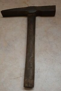 Vintage  Brick Block Stone Mortar Masonry Hammer Wood & wooden handle