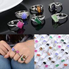 100p Wholesale Mixed Lots Natural Agate Rings Silver Plated Ring Fashion Jewelry