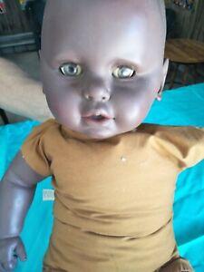 Vintage Doll Black Baby Doll needs repair soft plastic