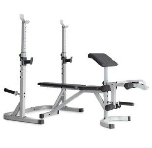 Weider Platinum Utility Bench and Squat Rack, Preacher Curl Pad + Weight Storage