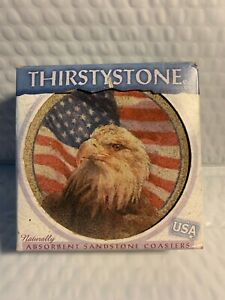 Vintage Thirstystone American Eagle FlagCoasters 4 Made Of Sandstone