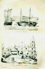 PHILIPPINES - MANILA CUSTOM HOUSE - FRANCISCO CHURCH Original 1835 Antique Print