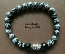 Snowflake Stone Beads Buddha Face For Peace & Lucky Mens Womens Yoga Bracelet